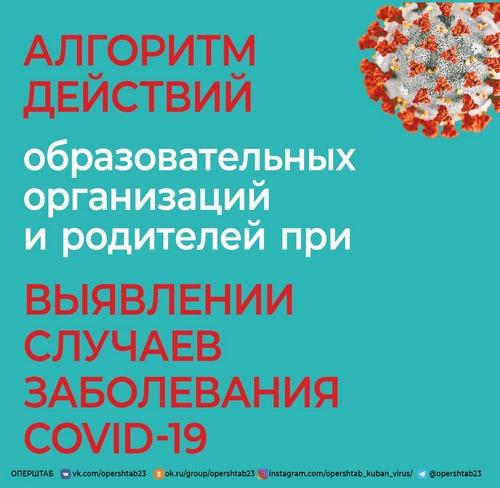 Алгоритм действий образовательных организаций и родителей при выявлении случаев заболевания CJVID-19